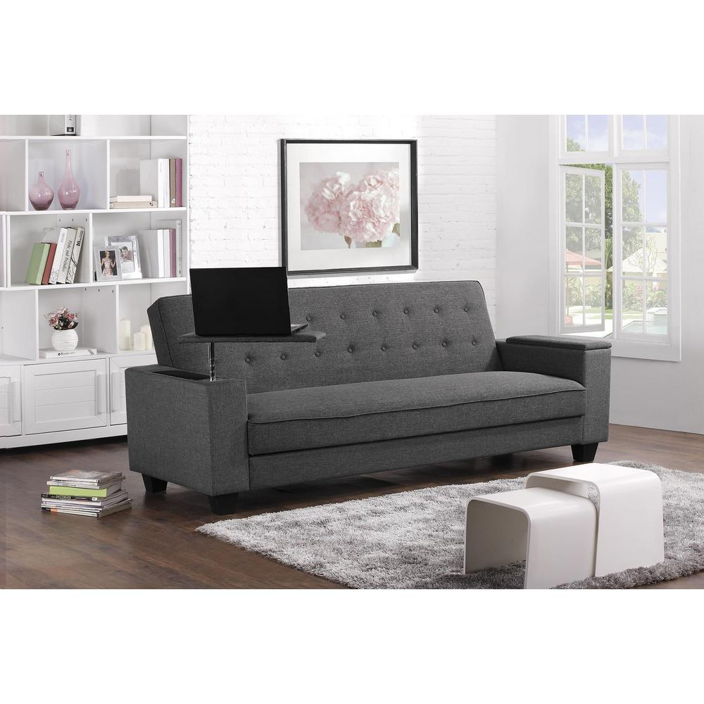 Dhp Union Laptop Tray Twin Double Size Futon In Gray 2096427 The Home Depot