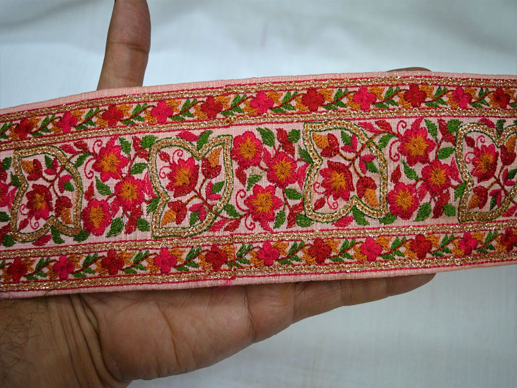 Wholesale Peach Decorative Trims Indian Sari Border By 9 Yard Trims Silk Embroidered Ribbon For Dresses Sewing Fabric Trim Craft Trimmings Sewing Fabric Fabric Crafts Fabric Trim
