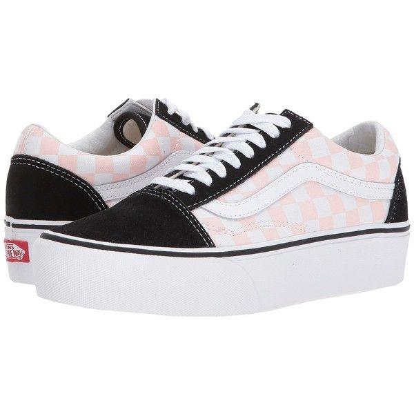 9e06dce403e Vans Old Skool Platform ((Checkerboard) Black Pink Dogwood) Skate... ( 65)  ❤ liked on Polyvore featuring shoes