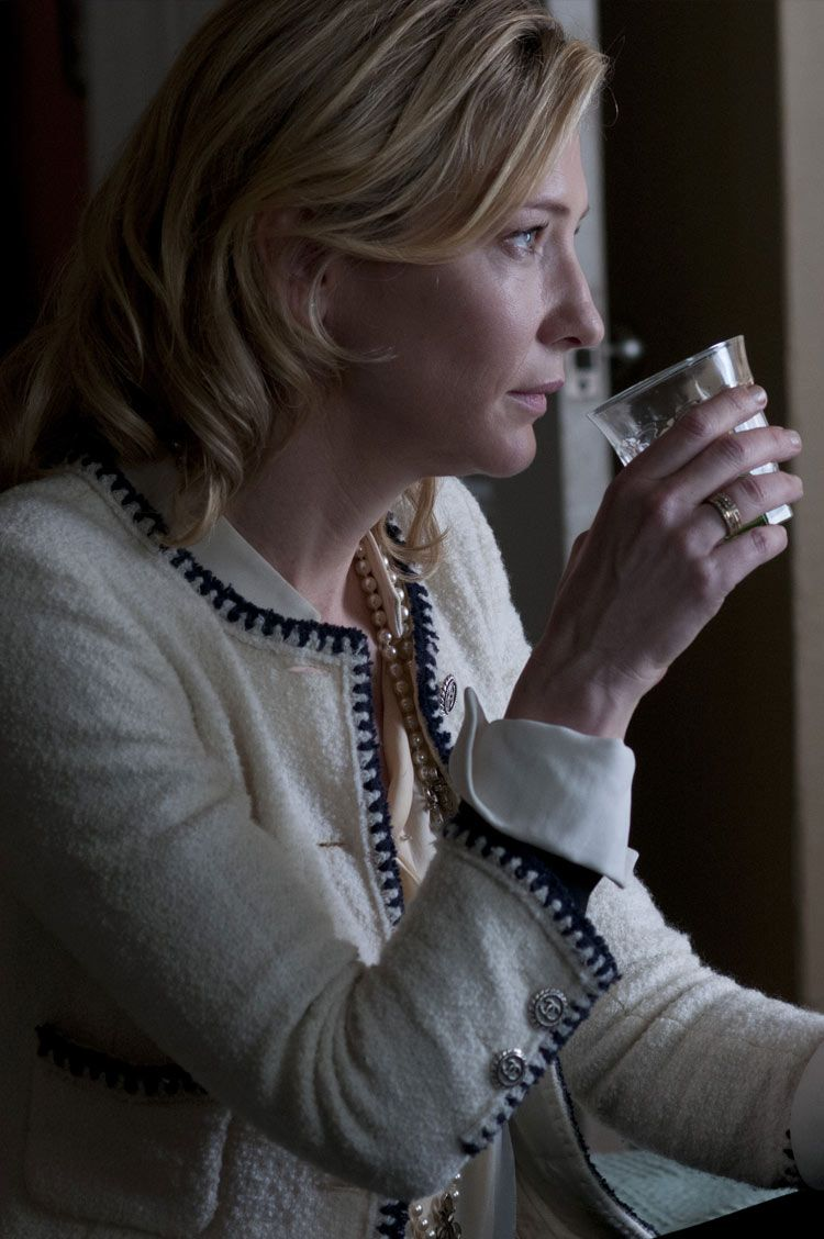 Cate Blanchett in a white boucle Chanel jacket for 'Blue Jasmine', 2013