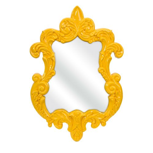 Finely Yellow Baroque Wall Mirror Imax Arched & Crowned Mirrors Home Decor