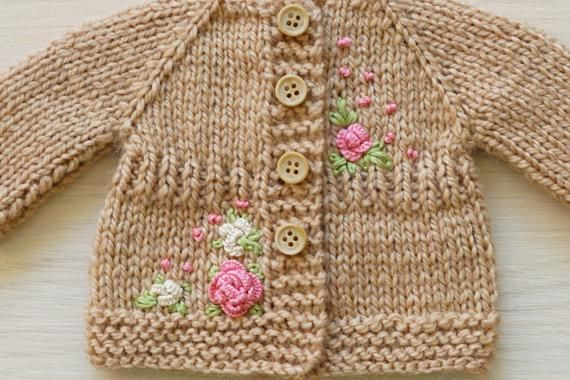 Knitted jacket with flower embroidery for girl baby doll 11 12 13 14 15 16 inch 28-40 cm handmade Wa #dollcare