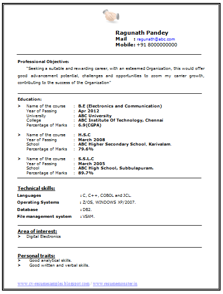 Over 10000 Cv And Resume Samples With Free Download Electronics And Communicati Engineering Resume Electronic And Communication Engineering Best Resume Format