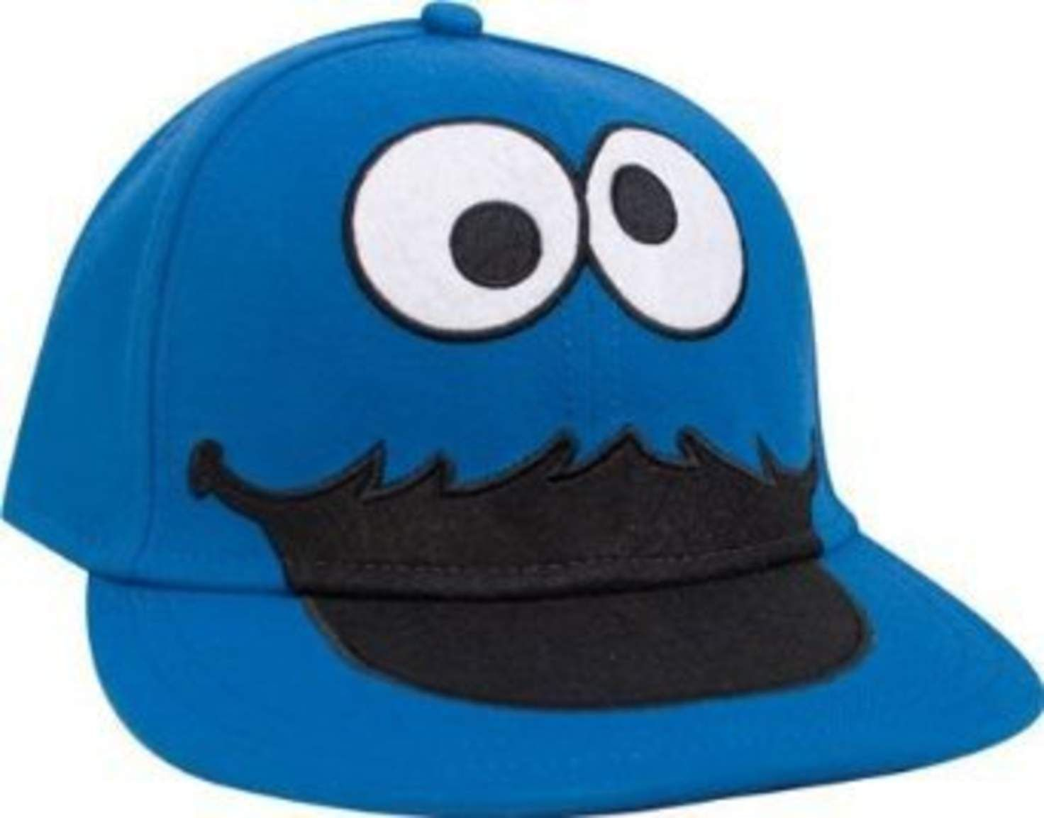 6026f479604b9 Sesame Street Cookie Monster Face Fitted Flat-bill Hat