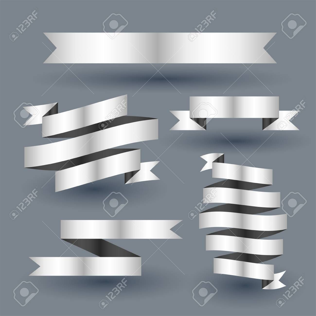 Shiny Silver Ribbon Banner Set Aff Silver Shiny Ribbon Set Banner Ribbon Banner Shiny Silver Banner