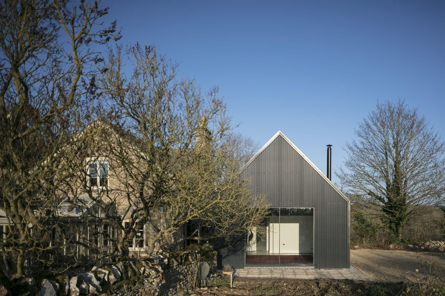 Corrugated Metal Extension By Eastabrook Architects Detached Houses In 2020 Modern Barn House Stone Cottages Farm Buildings