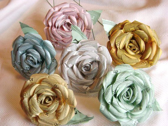 Monopoly Money Paper Rose 7 Flower Assortment Recycled Paper Flowers