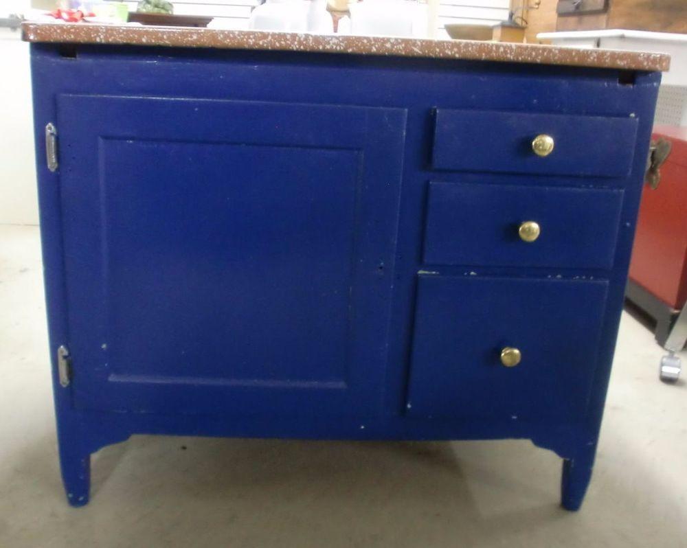 Enamel Top Cabinet Vintage Porcelain Top Kitchen Cabinet Painted Blue Country