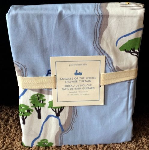 Pottery barn kids animals of the world shower curtain bath mat pottery barn kids animals of the world shower curtain bath mat lion blue new ebay gumiabroncs Gallery