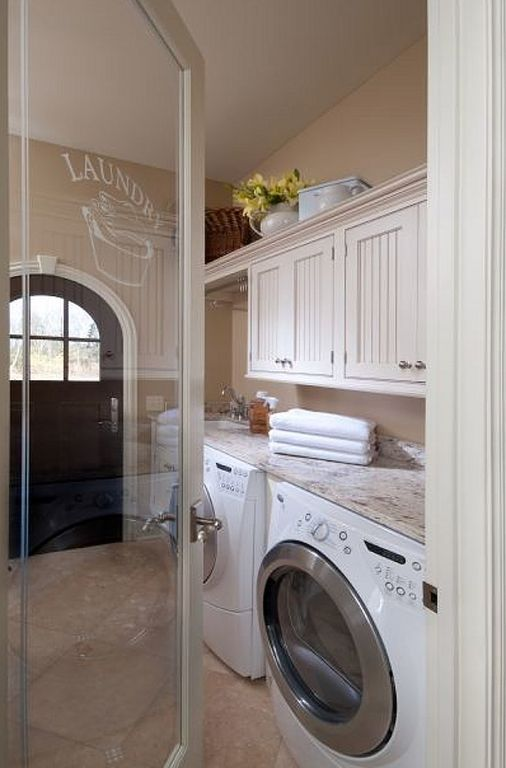 Cottage Laundry Room With Built In Bookshelf French Doors Drop