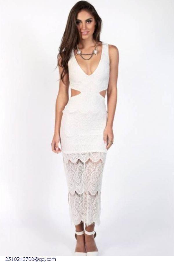 New arrival Fashion vestidos de renda feminino women dress summer 2015 Bohemian White Lace Snowflake sexy Maxi Dresses LC6927