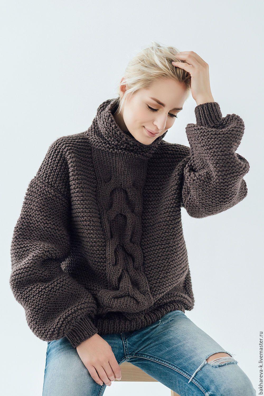 купить объемный свитер с косой бежевый однотонный вязаный свитер