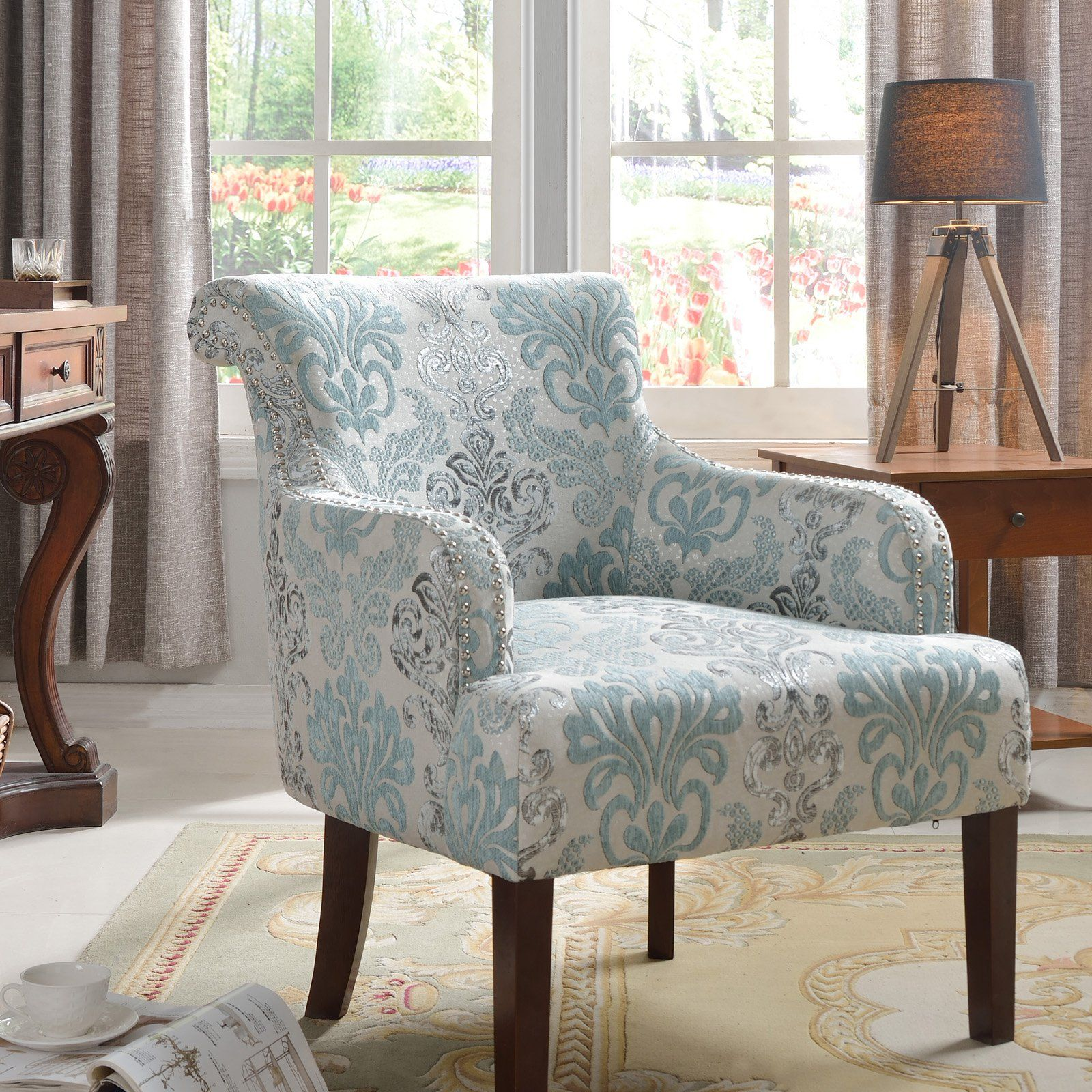 Best Master Furniture Regency Teal Floral Living Room Accent Chair