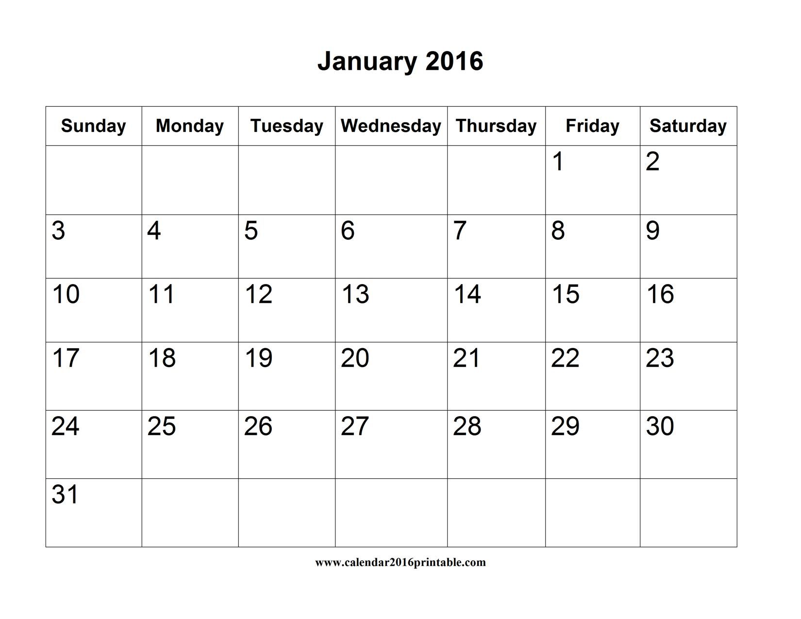 january 2016 calendar printable word free to download and print