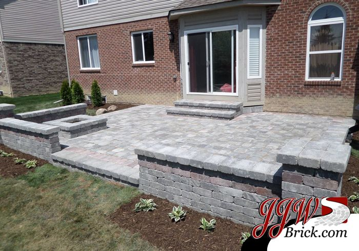 Brick Paver Patio Design With Brick Seating Wall And Pillars. #brickfirepit  #troymi #