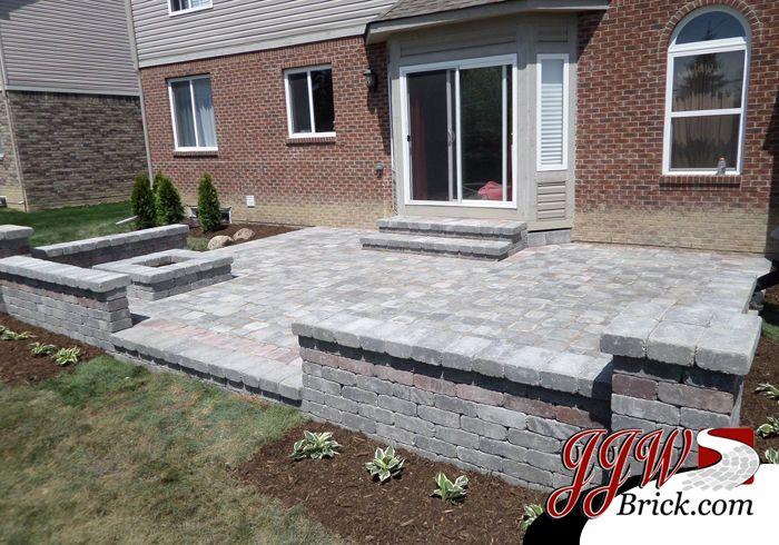 Brick Paver Patio Design with Brick Seating Wall and ... on Brick Paver Patio Designs  id=83039