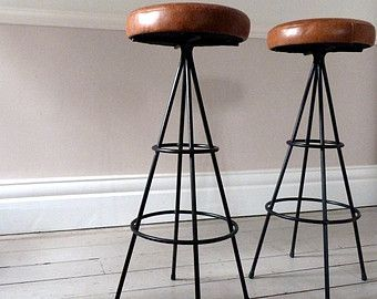 Pair of 1950s Vintage French Leather Bar Stools / Counter Stools