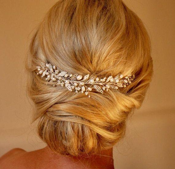 Emily Hair vine-Wedding Hairvine, Bridal hairpiece, Tiara, Crown, Headdress, Veil Topper, Pearl, Crystal, Adornment, Vintage, Headpiece #bridalhairpiece