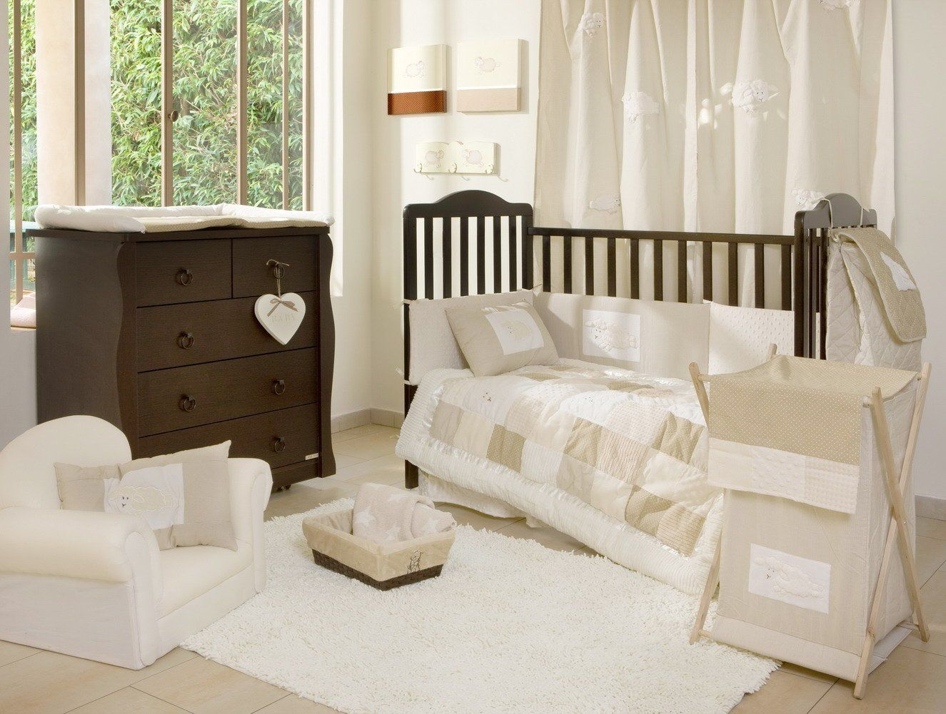 Beige Cream And White Bedroom Decorating Ideas White Crib