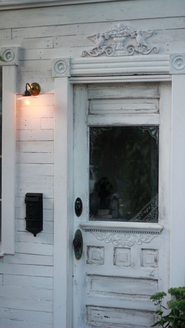 Victorian Front door - Salvaged from Neighbor's remodel. French porch light.