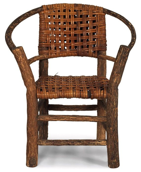 Old Hickory style child's chair, woven splint back and seat supported by  curved wood frame - Antique Old Hickory Furniture Salesman Samples. Rare Martinsville