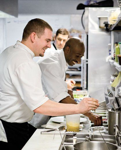 From left, sous chef Jacob Kenton, prep cook Juan Lincoln and line - prep cook