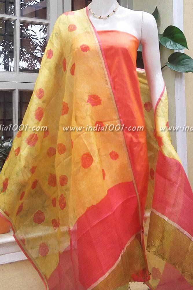 Kota Silk Dupatta & Raw Silk Kurta Fabric | Silk suits and ...