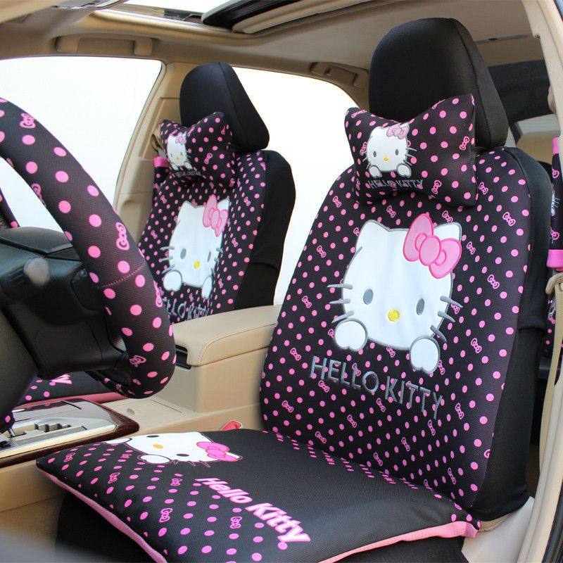 New 10pcs Set HelloKitty Bow Car Seat Covers Cartoon Interior Accessories From 13968