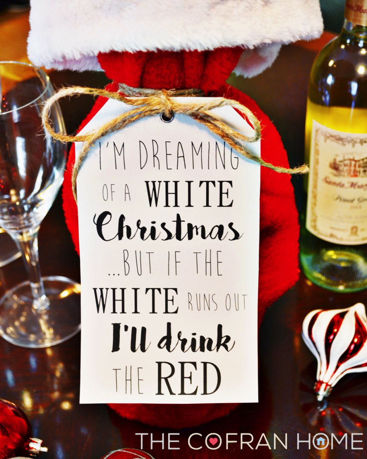 Free Printable Chistmas Wine Tag The Cofran Home Funny Christmas Card Sayings Christmas Card Sayings Funny Christmas Tags