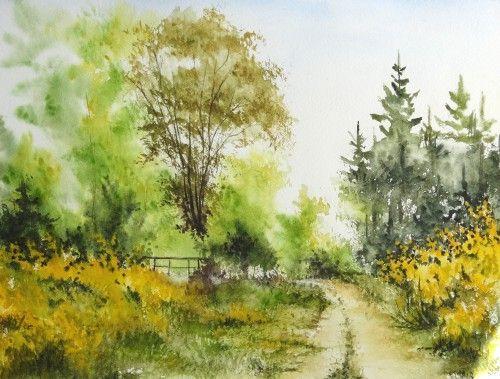 Relativ aquarelle,abby,arbres,forêt,paysage,campagne,sous-bois,barrière  YW65