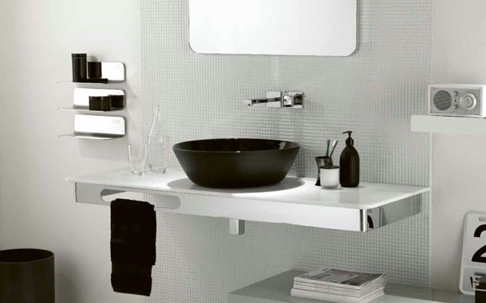 Badezimmer Schwarz Weiß Grauer Mosaik Glatt