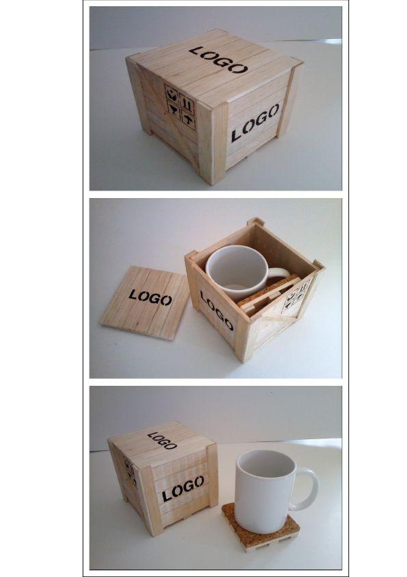 Caja De Madera De Balsa Forma Container De Avión Con Taza Ceramica Y Porta Taza Con Base De Co Diseños De Cajas De Madera Embalajes De Madera Cajas De Madera