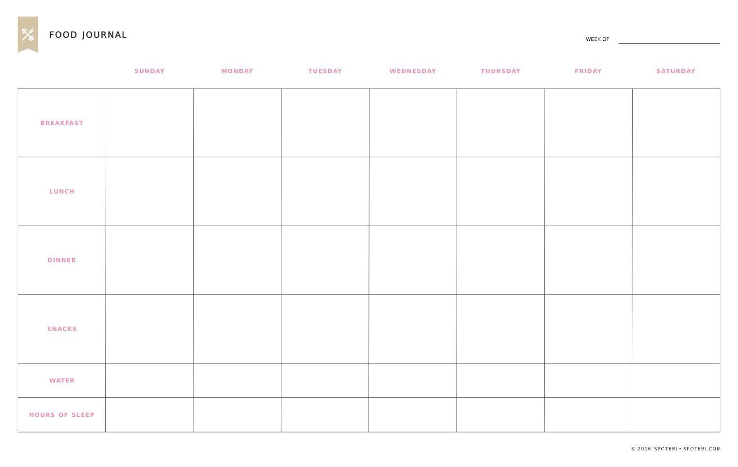 Print Our Free Food Diary Template Track Your Eating Habits Thoughts Feelings And