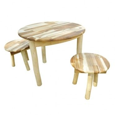 Shabby Chic Round Table And 2 Stools - Kids Furniture - Milan Direct
