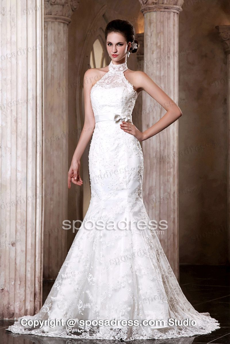 fascinating high neck mermaid lace sweep train wedding dress