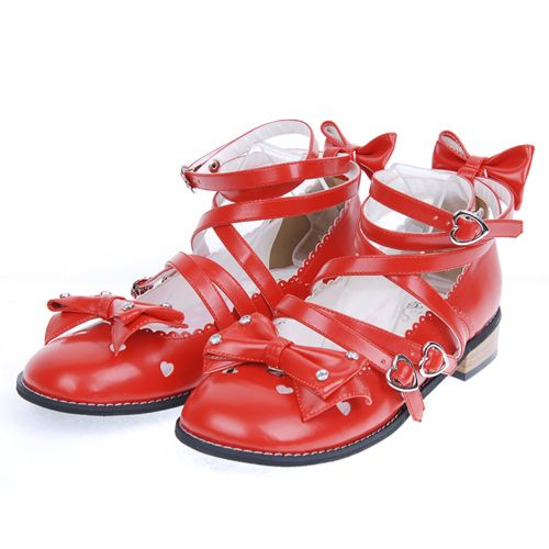 "Red 1.0"" Heel High Cute Suede Round Toe Bow Platform Girls Lolita Shoes"