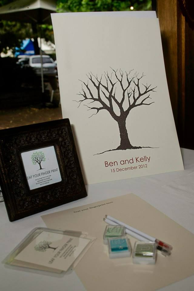 Ben and Kelly\'s classic fingerprint guest book tree all set up and ...
