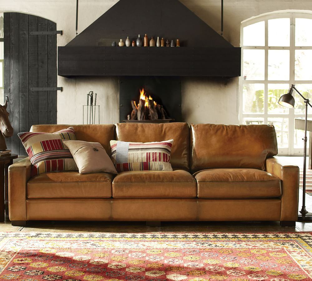 """Turner Square Arm Leather Sofa 3Seater 85.5"""", Down Blend"""