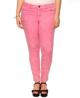 Pink colored skinny jeans