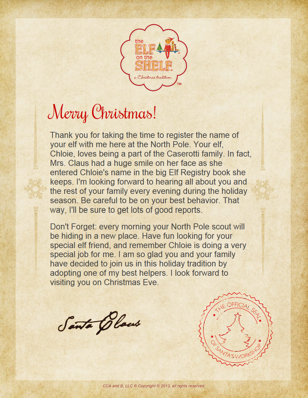 And Here Is The Eots Welcome Letter From Santa Which Is Also