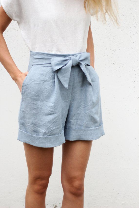 Linen Shorts / Shorts with bow / Woman Shorts with pockets / High waisted shorts / Sustainable clothes / Slow fashion / Skorts / SHORTS #16