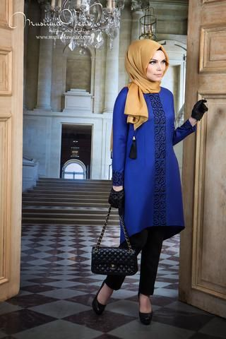 Muslima Wear. Tunic indigo blue color with fancy black embroidery.