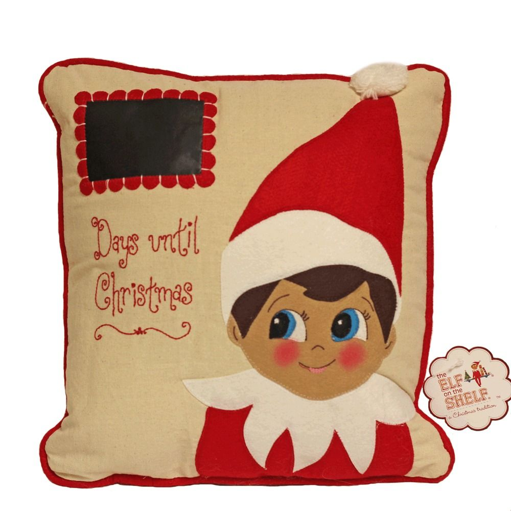 Elf on the Shelf Countdown to Christmas Pillow write with chalk chalkboard NEW