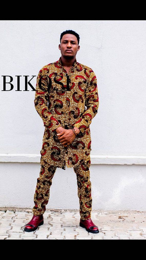 e8ac74818d18 Ankara Outfit for Men, African Shirt &Pants For Men in 2019 ...