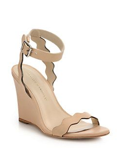 Loeffler Randall - Piper Scallop Leather Wedge Sandals