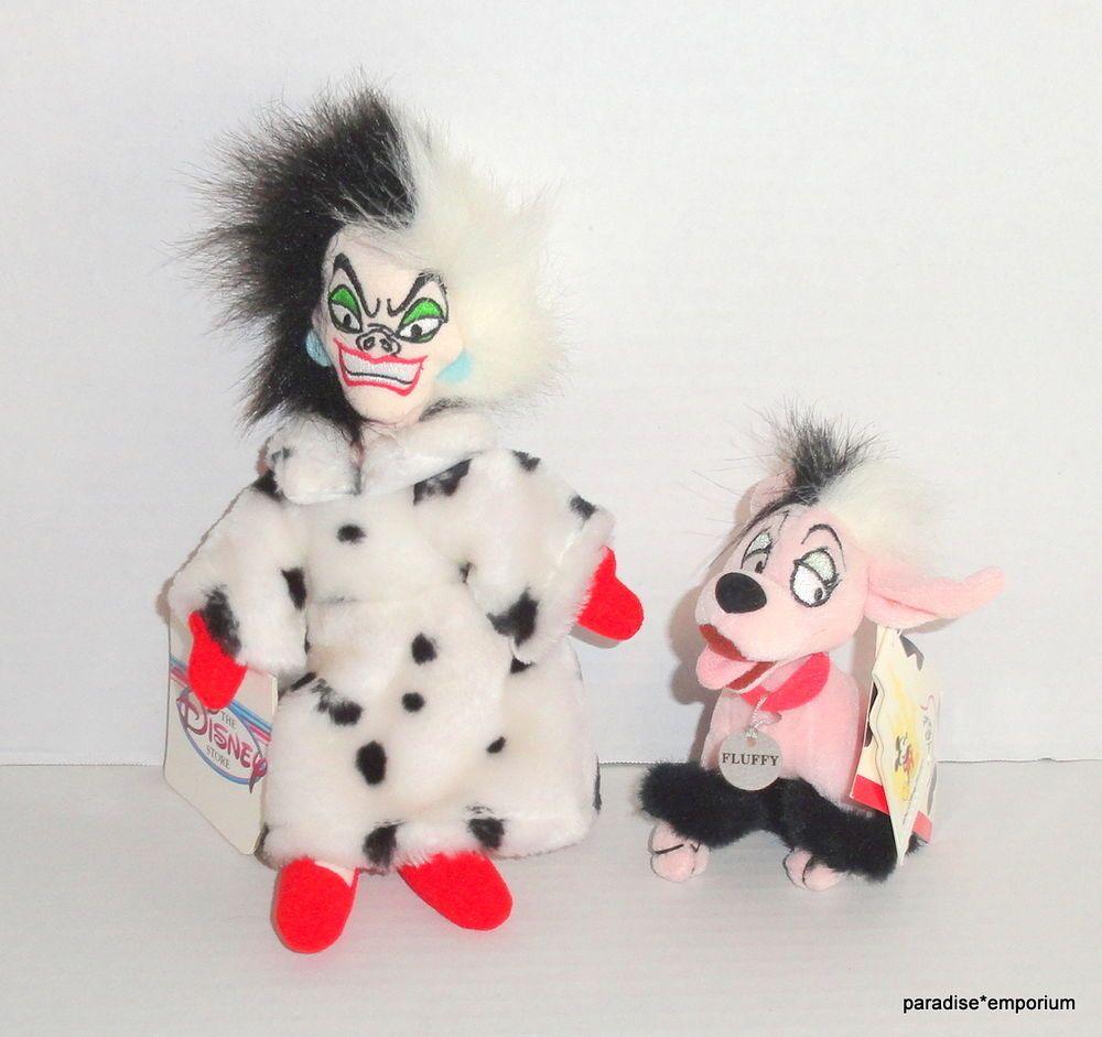 New Disney Store Cruella De Vil & Fluffy Plush Lot Set 101 102 Dalmatians P83 #Disneytoys #101dalmatians