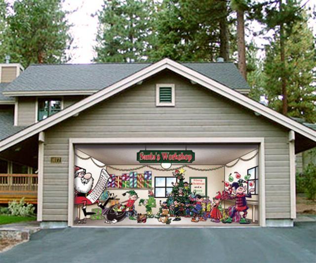 Huge Christmas Decoration for your garage door. So Fun!  Outdoor