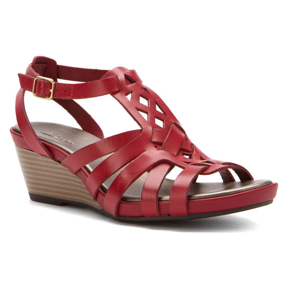 2c47f888460a61 Clarks Women s Clarks Lucia Coral Wedge Sandal Red Leather 65148 ...