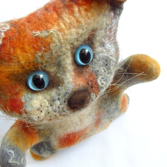 Hand puppet Cat Kids toys Felted animals Organic baby gift Eco toys Puppets for…