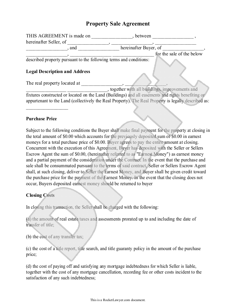 Property Sale Agreement  Property Sale Contract Form With Sample